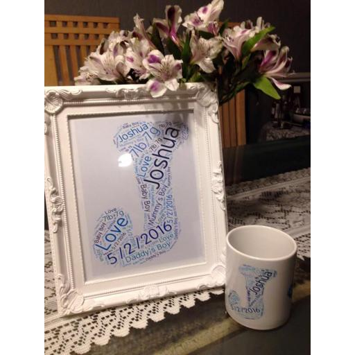 New Born Intial Wordcloud in Photoframe & Mug set