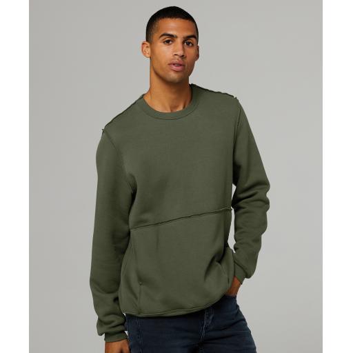 Unisex raw-seam crew pullover