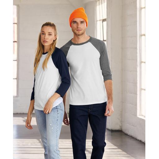 Unisex triblend ¾ sleeve baseball t-shirt